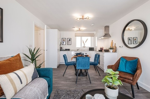 Interior view of open plan living of our 2 bed show apartment