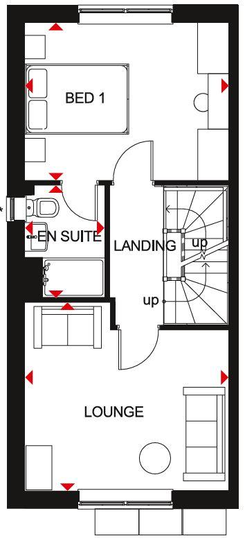 First floor floor plan of the Kingsville house type at Ladden Garden Village, Yate