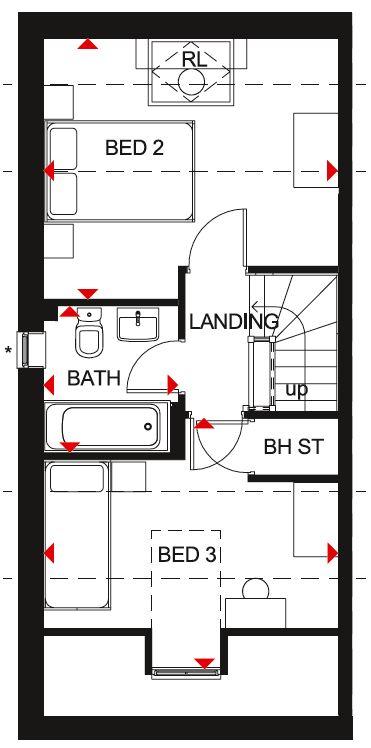 Second floor floor plan of the Kingsville house type at Ladden Garden Village, Yate.