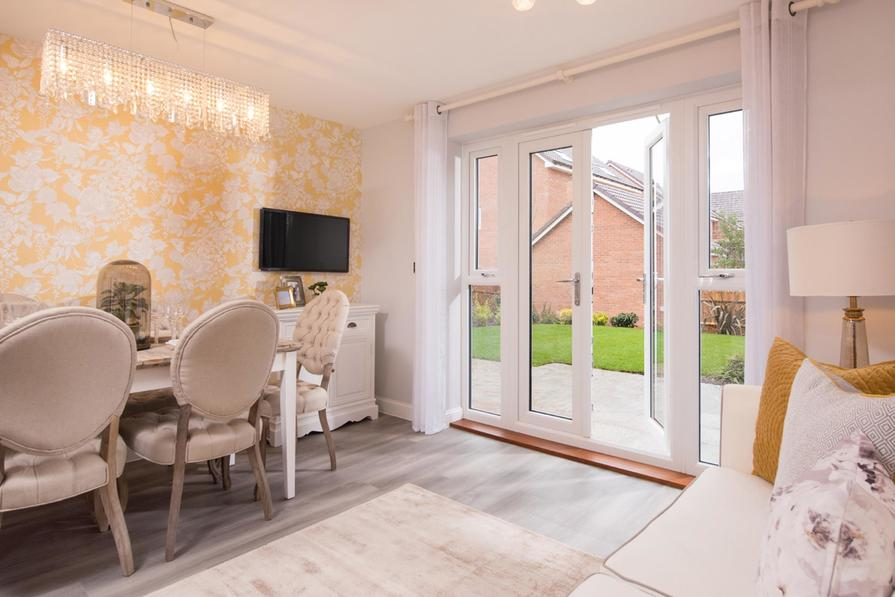 Kingville dining room with French doors