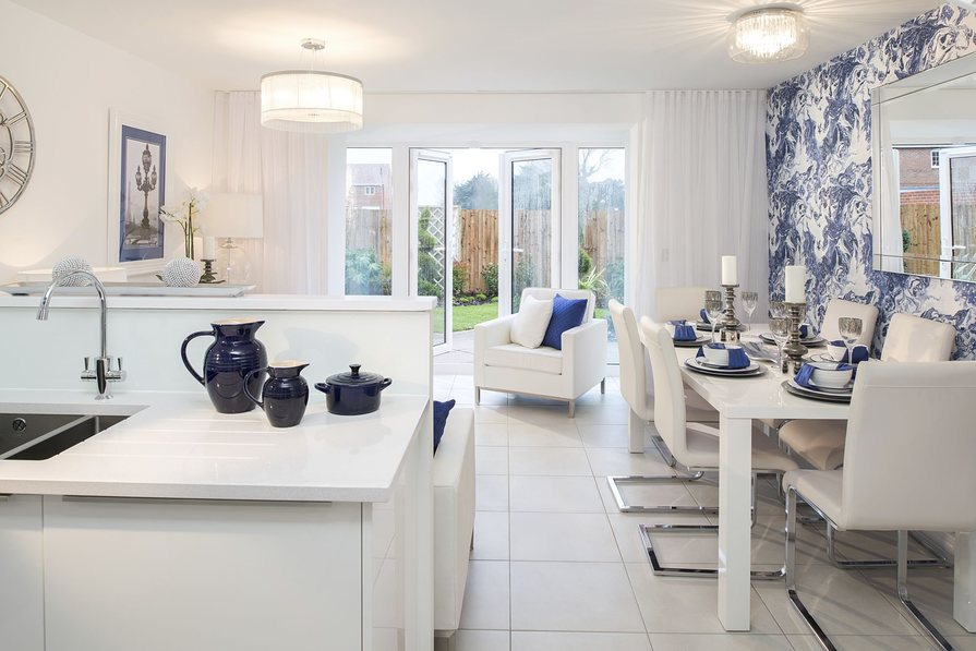 Typical Rochester kitchen, dining and family area with French doors