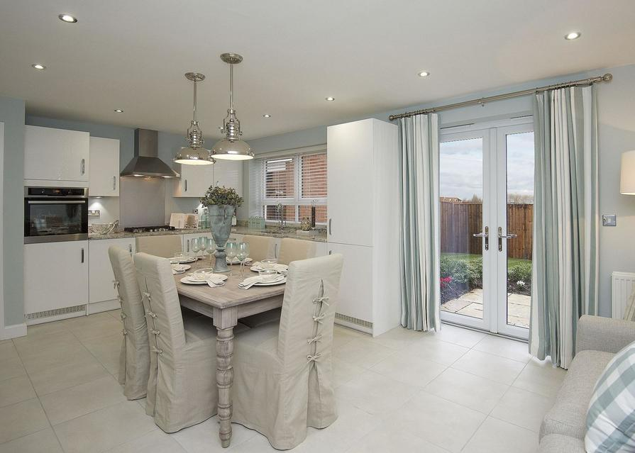 Typical Chesham fitted kitchen, dining and family area with French doors
