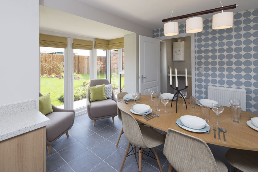Typical Tavistock dining area with glazed bay and French doors