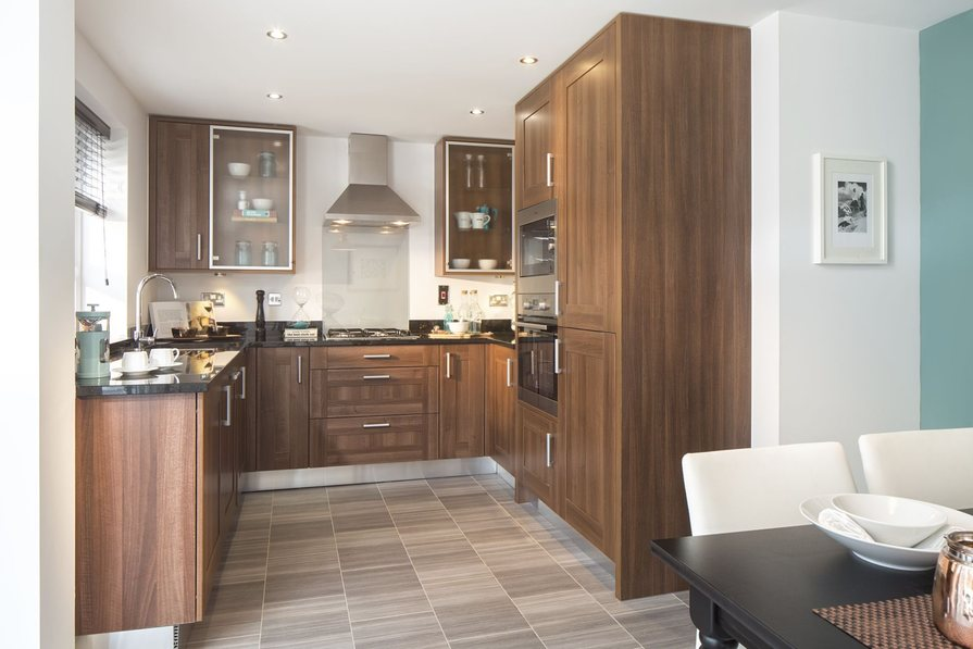 Typical Heathfield fitted kitchen leading to the family dining area