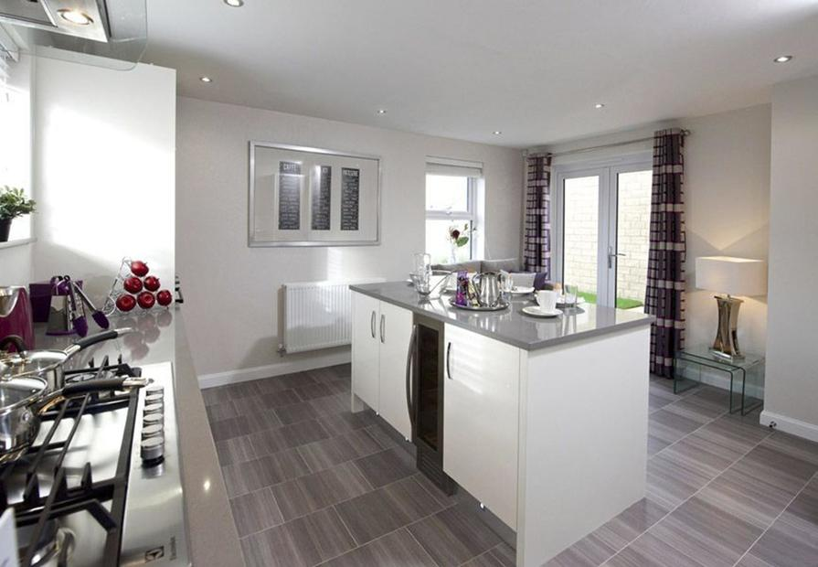 Typical Lincoln fitted kitchen with breakfast area and French doors