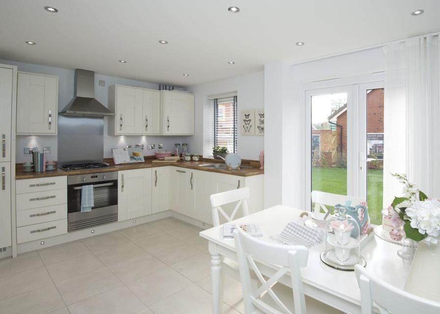 Typical Finchley fitted kitchen and dining area with French doors