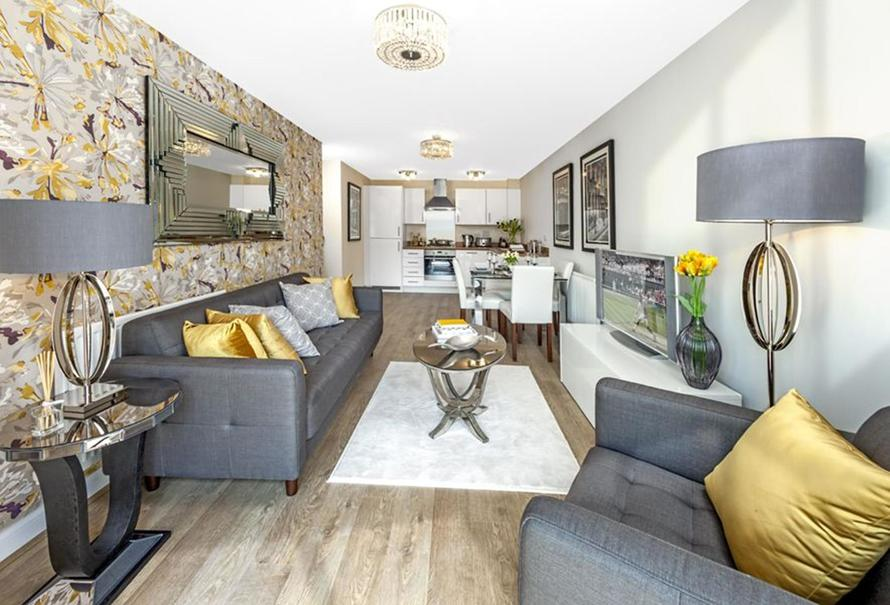 Typical Barratt Show Home Lounge/Dining/Kitchen