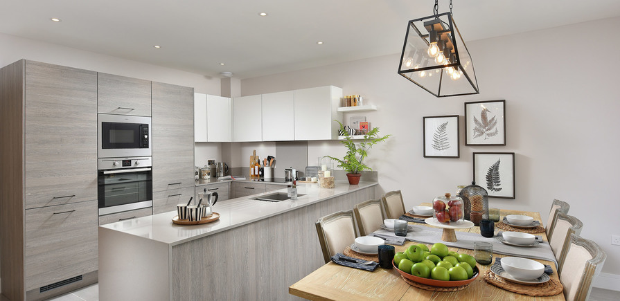 Berkeley, Edenbrook, Plot 390, Kitchen and Dining, Interior