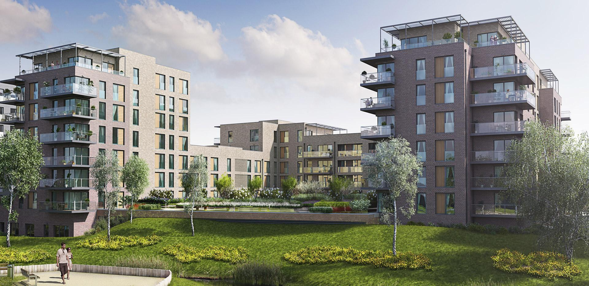 Berkeley Homes, Merlin Court, Blackheath Quarter, Kidbrooke Village, CGI, Exterior, Day