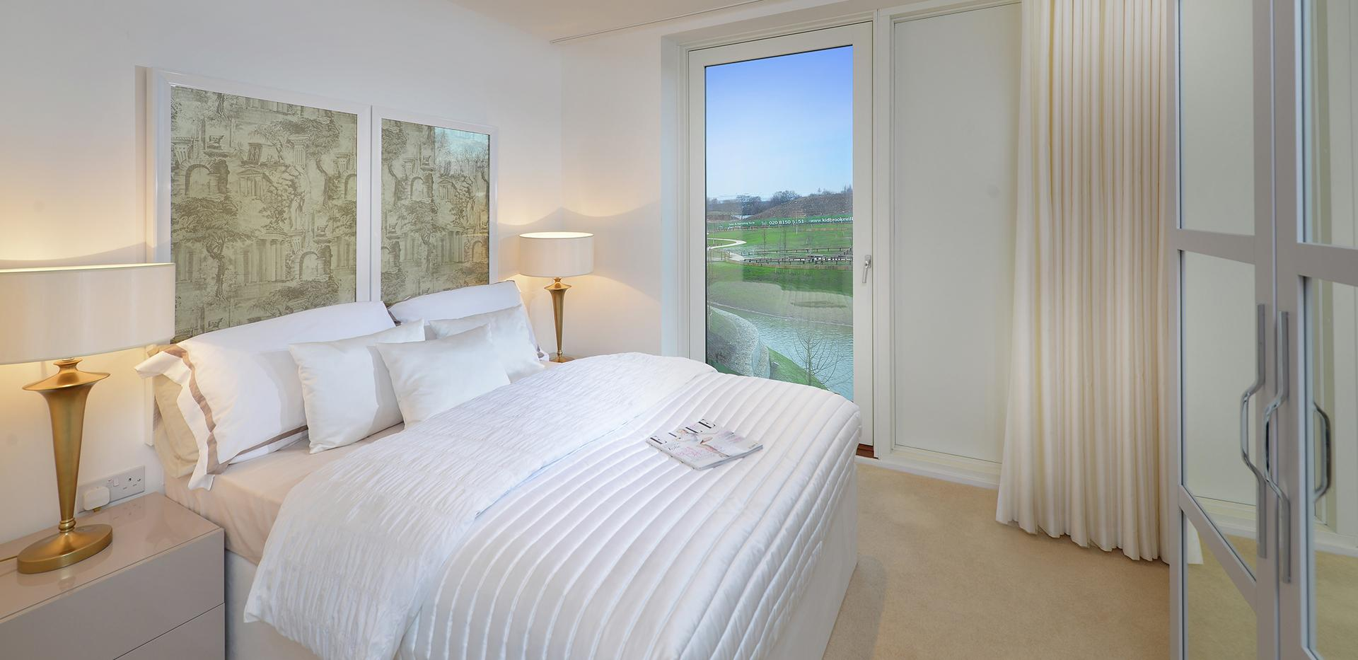 Berkeley Homes, Kidbrooke Village. Blackheath Quarter, Interior, Bedroom, Views, Open, Space, Lake