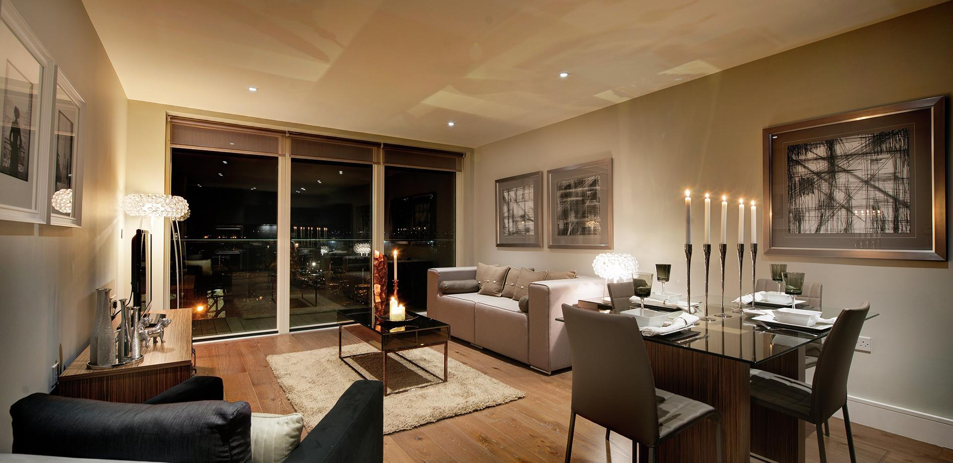 Berkeley Homes, Kidbrooke Village,Blackheath Quarter, Wallace Apartments, Evening, Living Room