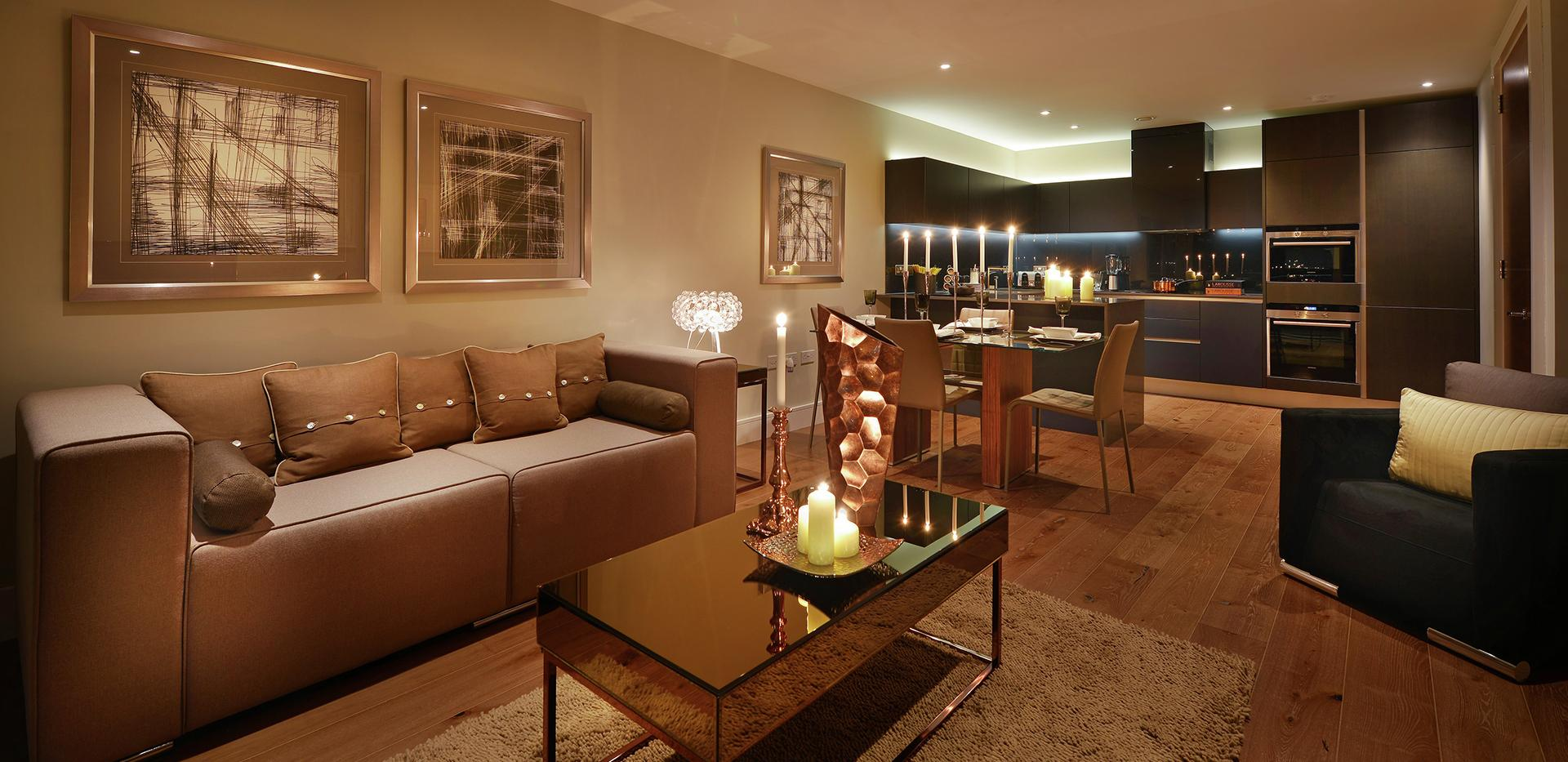 Berkeley Homes, Kidbrooke Village, Blackheath Quarter, Wallace Apartmetnts, Candlelit, Living Room,