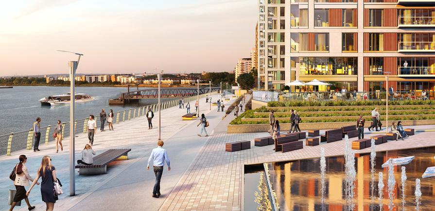 Berkeley, Royal Arsenal Riverside, Waterfront, river, park