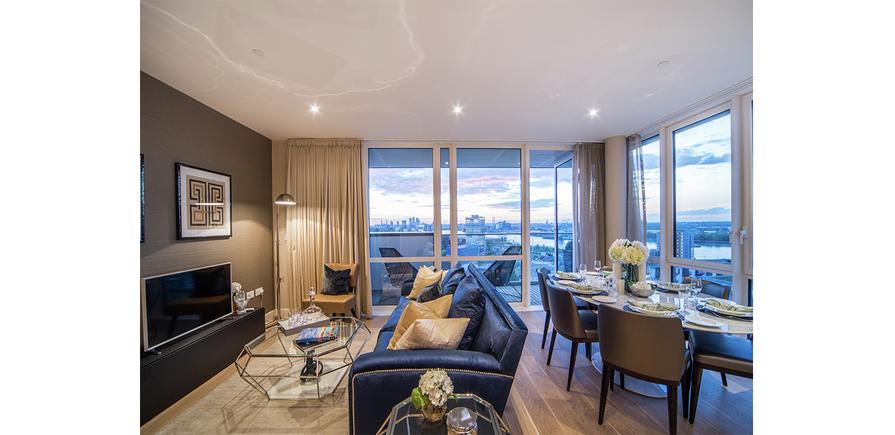 Berkeley, Waterfront, Royal Arsenal Riverside, open plan living, Show Apartment