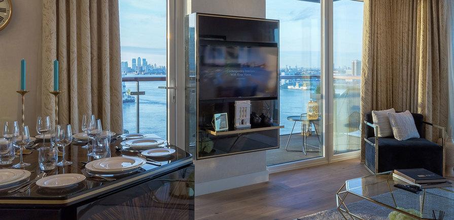 Berkeley, Royal Arsenal Riverside, Waterfront Show Apartment, Dining & Exterior