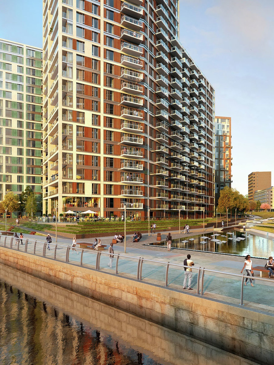 Berkeley, Royal Arsenal Riverside, Waterfront CGI, Exterior Portrait