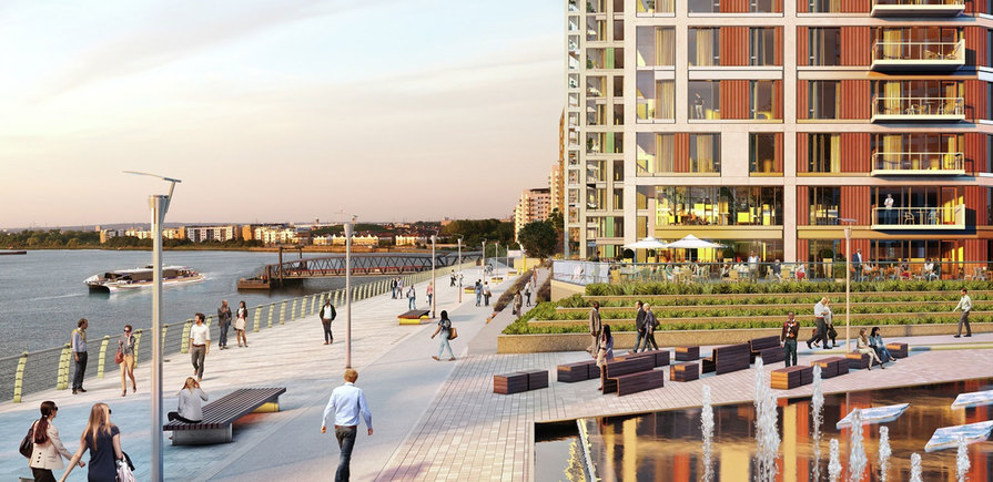 Berkeley, Royal Arsenal Riverside, Waterfront CGI, Thames View