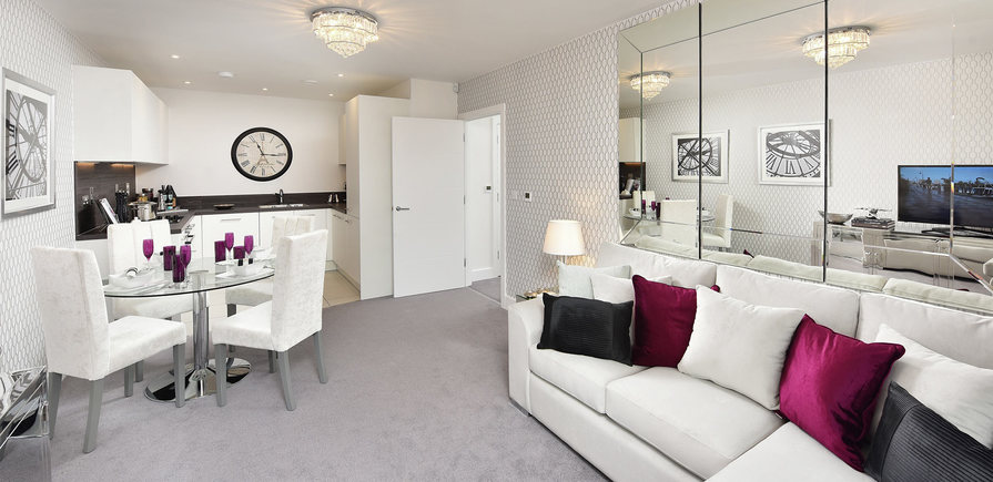 Berkeley, The Waterside at Royal Worcester, Showhome, Interior, Open Plan Living