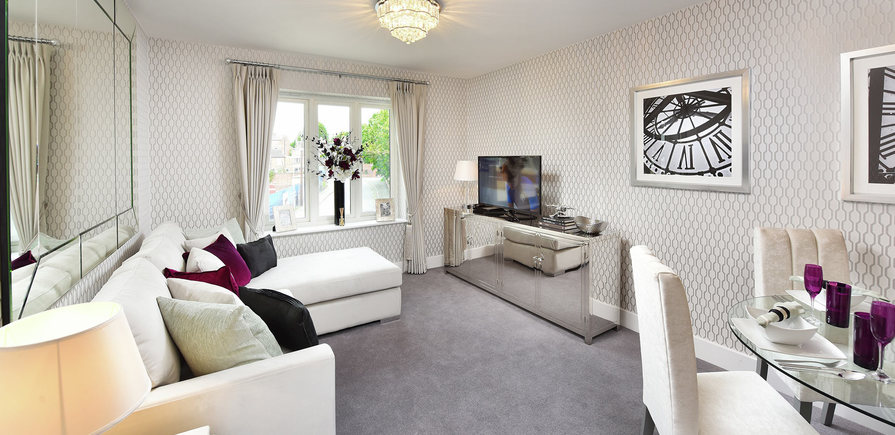 Berkeley, The Waterside at Royal Worcester, Showhome, Interior, Living Area