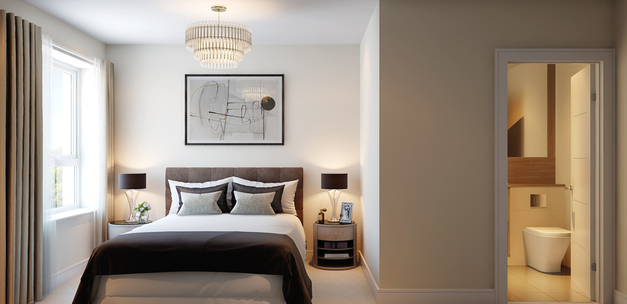 Berkeley, Victory Pier, Peninsula Quay, Master bedroom, CGI, Interior