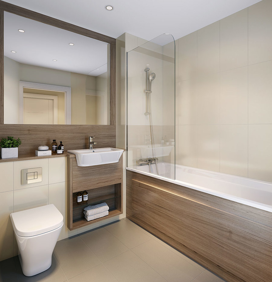 Berkeley, Victory Pier, Peninsula Quay,Bathroom, CGI, Interior