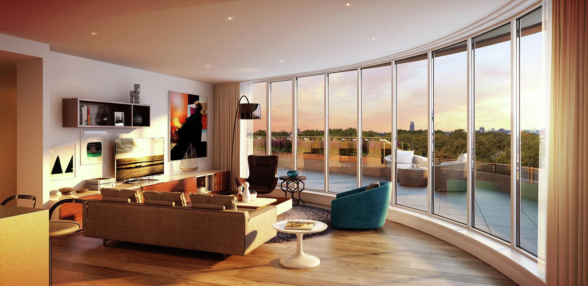 Berkeley, Vista, Living Room, Dusk, Interior