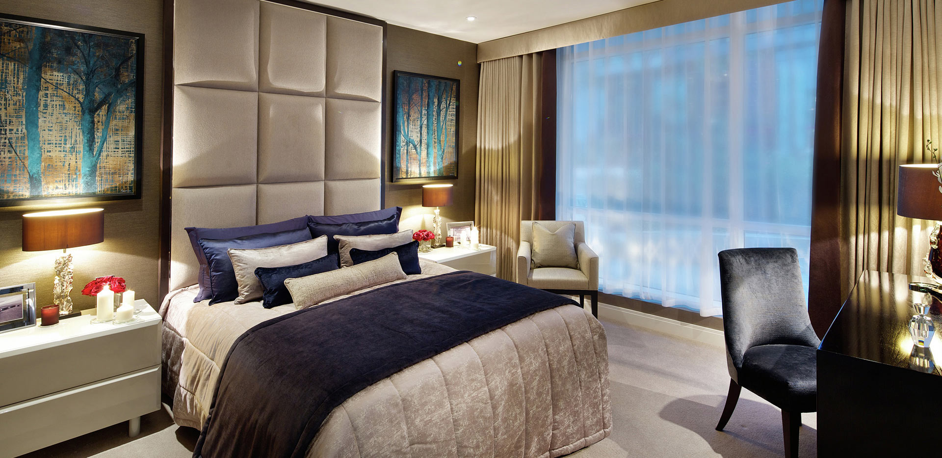 Berkeley, Vista, Show Apartment Master Bedroom