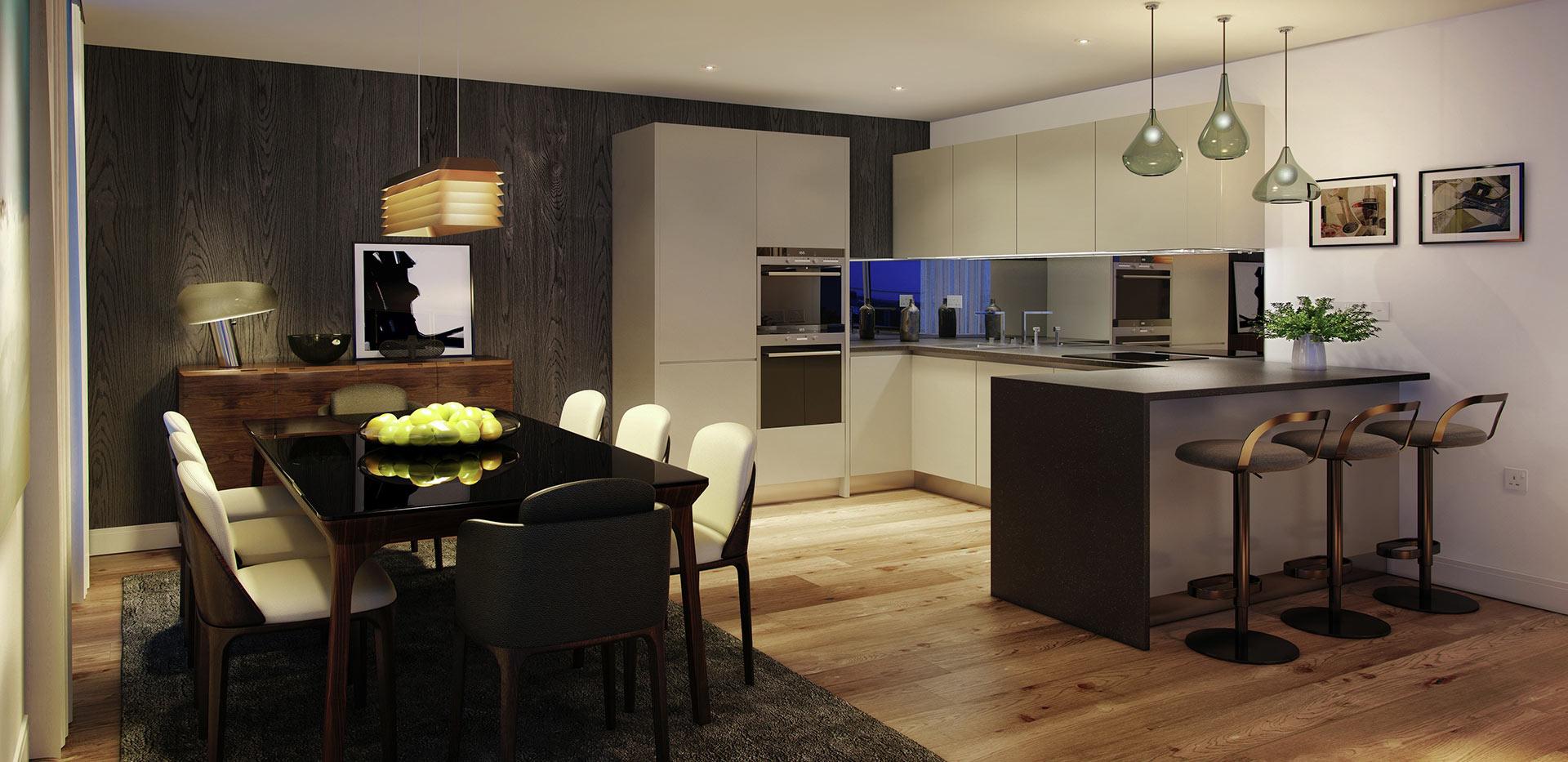 Berkeley, Vista, Dining Room & Kitchen, Interior