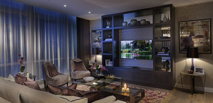 Berkeley, Vista, Show Apartment Living Room Evening
