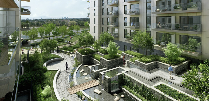 Berkeley, Woodberry Down, Water Feature, Exterior