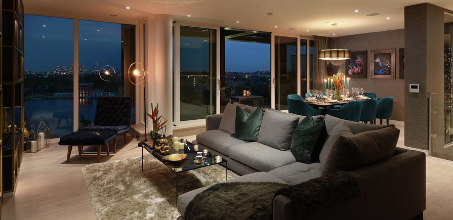 Berkeley, Woodberry Down, Interior, Living Room, Dusk