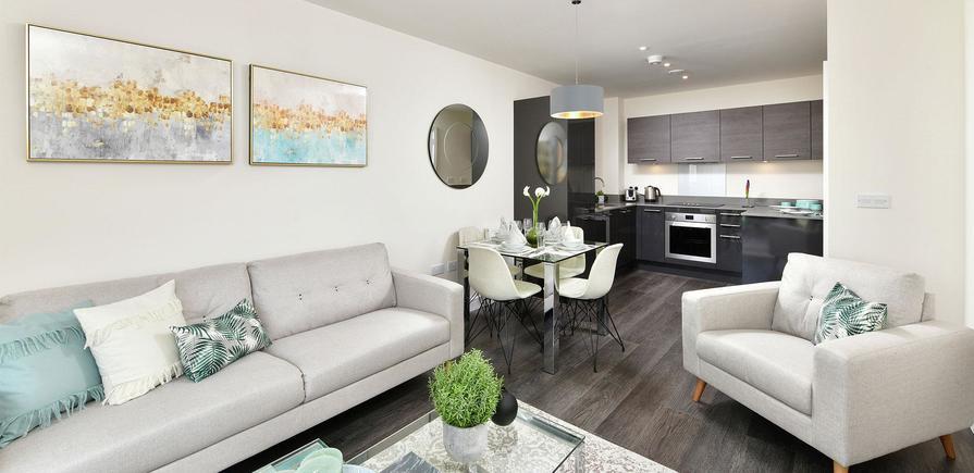 Berkeley, Victory Pier, Peninsula Quay, Living Room, CGI, Interior