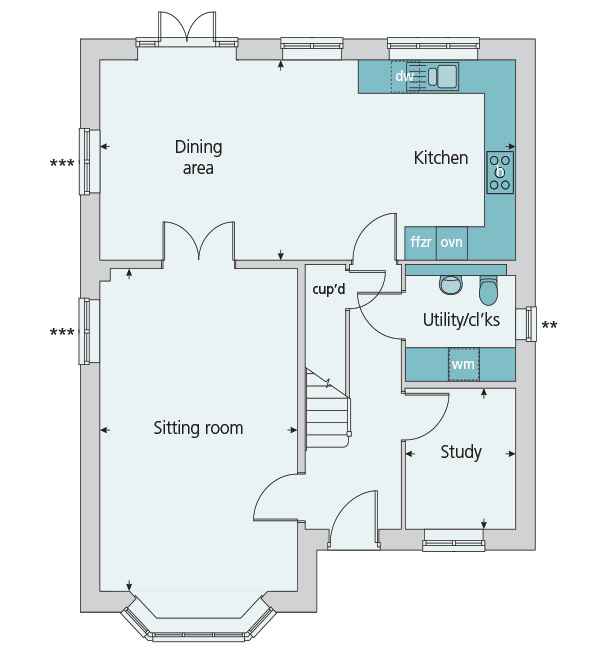 Link detached house plot the oxford for 514 995 in for 10ft x 7ft garage door