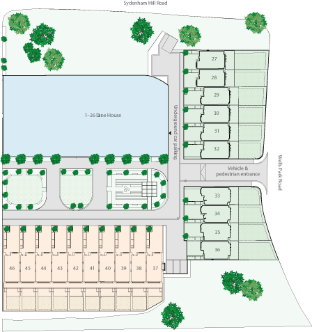 Siteplan of Wells Park Place