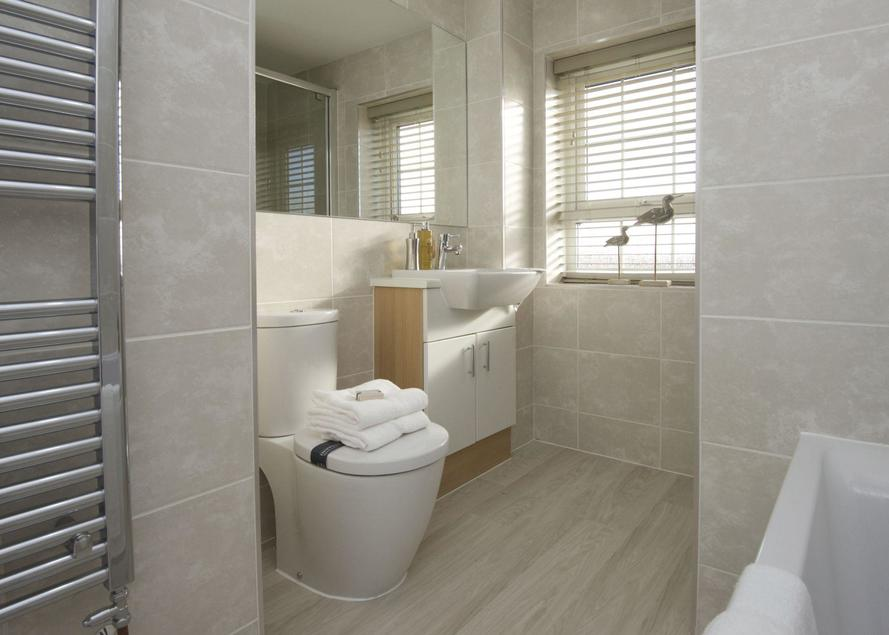 Bathroom with bath and separate shower cubicle