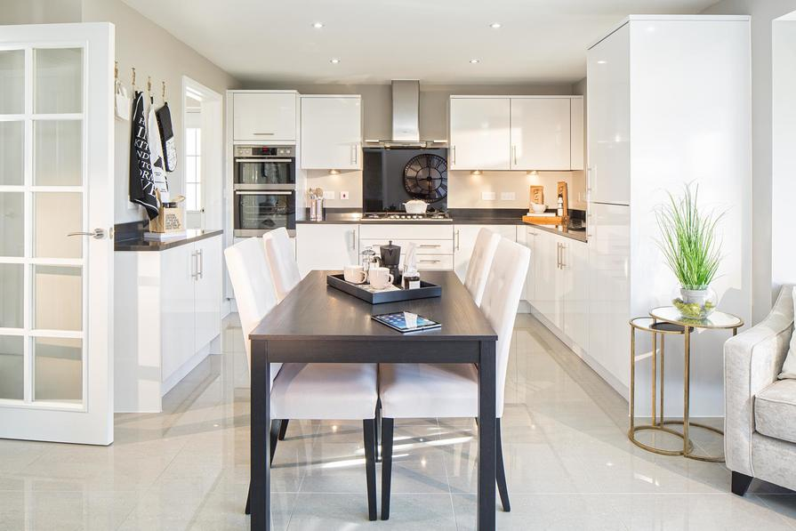 Open plan kitchen with breakfast and family areas
