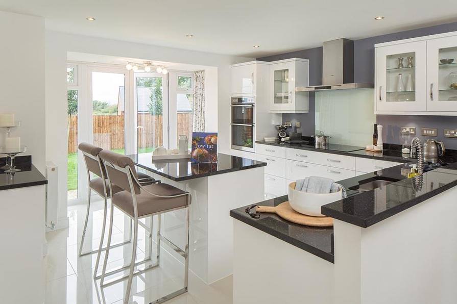Moorecroft kitchen with French doors onto the garden
