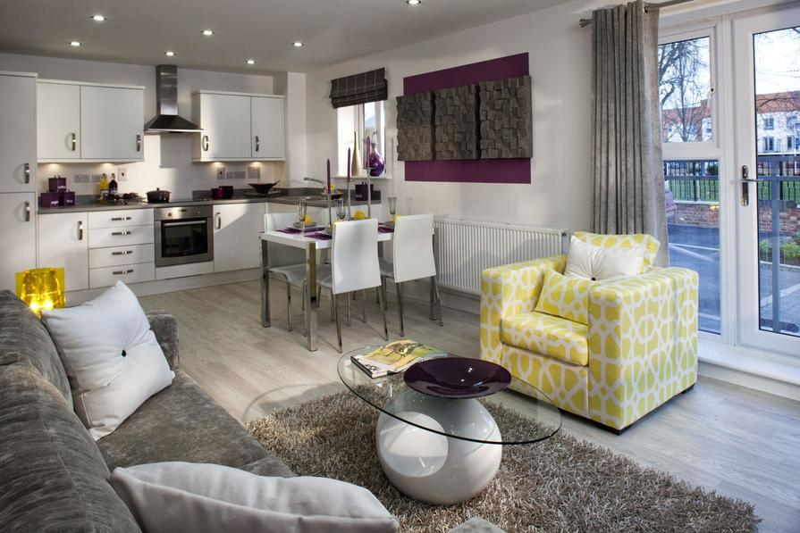 The Burleigh kitchen/living area