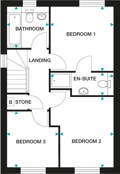 """<p><strong>Lansdown First Floor</strong></p><p>FIRST FLOOR<br>Bedroom 1 3095mm x 3185mm 10'1"""" x 10'5""""<br>En-Suite 3080mm x 1095mm (max) 10'1"""" x 3'7"""" (max)<br>Bedroom 2 2630mm x 3475mm 8'7"""" x 11'4""""<br>Bedroom 3 2535mm x 2735mm (max) 8'3"""" x 8'11"""" (max)<br>Bathroom 2000mm x 2050mm (max) 6'6"""" x 6'8"""" (max)</p>"""