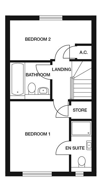 <p><strong>First Floor</strong></p><p><strong>Bedroom 1</strong> <br>3039mm x 3630mm<br>9&#39;11&quot; x 11&#39;10&quot;</p> <p><strong>En-suite</strong> <br>1010mm x 2567mm<br>3&#39;3&quot; x 8&#39;5&quot;</p> <p><strong>Bedroom 2</strong> <br>4112mm x 2069mm<br>13&#39;5&quot; x 6&#39;9&quot;</p> <p><strong>Bathroom</strong> <br>2000mm x 1974mm<br>6&#39;6&quot; x 6&#39;5&quot;</p> <p>Store - 1010mm x 1000mm</p> <p>3&#39;3&quot; x 3&#39;3&quot;</p> <p>A.C/ Store - 695mm x 849mm</p> <p>2&#39;3&quot; x 2&#39;9&quot;</p>
