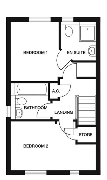<p><strong>First Floor</strong></p><p><strong>Bedroom 1</strong> <br>2556mm x 3169mm<br>8&#39;4&quot; x 10&#39;4&quot;</p> <p><strong>En-suite</strong><br>1830mm x 2039mm<br>6&#39;1&quot; x 6&#39;8&quot;</p> <p><strong>Bedroom 2</strong><br>4450mm x 2595mm<br>14&#39;7&quot; x 8&#39;6&quot;</p> <p><strong>Bathroom</strong> <br>1980mm x 2047mm<br>6&#39;5&quot; x 6&#39;8&quot;</p> <p><strong>Store</strong> <br>985mm x 920mm<br>3&#39;2&quot; x 3&#39;1&quot;</p>