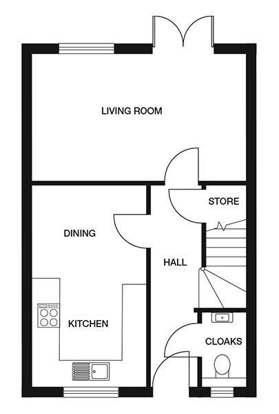 <p><strong>Ground Floor</strong></p><p><strong>Kitchen/ Diner</strong> <br>2703mm x 4851mm<br>8&#39;10&quot; x 15&#39;11&quot;</p> <p><strong>Living Room</strong> <br>5012mm x 3023mm<br>16&#39;5&quot; x 9&#39;11&quot;</p> <p><strong>Cloakroom</strong> <br>991mm x 1747mm<br>3&#39;3&quot; x 5&#39;8&quot;</p> <p><strong>Store</strong> <br>900mm x 1128mm<br>2&#39;11&quot; x 3&#39;8&quot;</p>