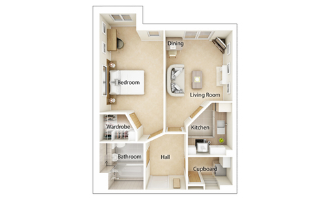 Typical 1 bedroom - Plot 62285