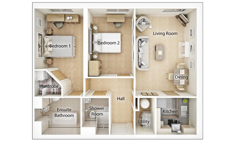 Typical Two Bedroom Floor Plan