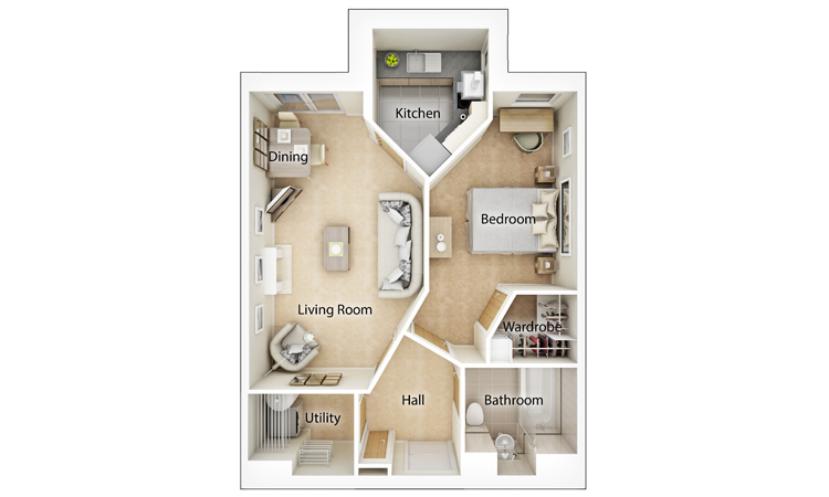 Typical One Bedroom Floor Plan
