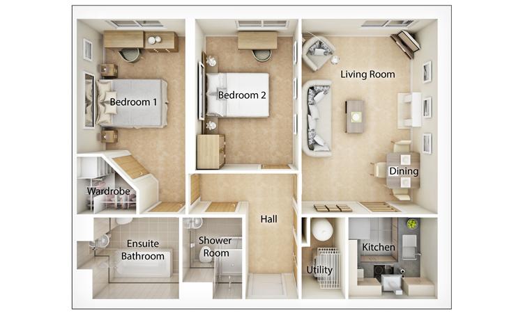 Typical Two Bedroom Floor Plan