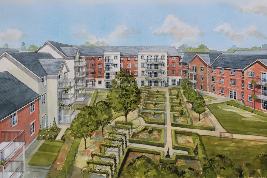 View of proposed development courtyard - artist impression, subject to change
