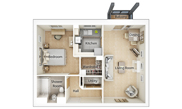 Typical One Bedroom Floor Plan