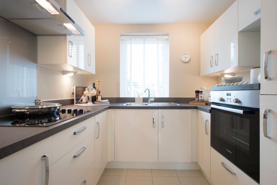 Typical kitchen in a 1 bedroom apartment