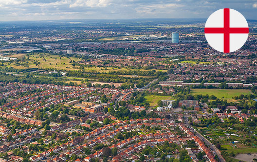 aerial view of a town in England